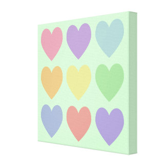 Pastel Hearts Wrapped Canvas