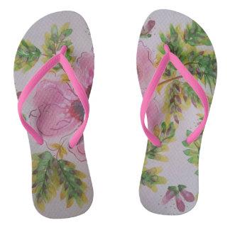 Pastel hibiscus flip flops
