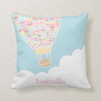Pastel Hot Air Balloon Nursery Room Decor Pillow