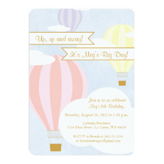 Pastel Hot Air Balloon Party Card