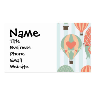 Pastel Hot Air Balloons Rising on Blue Striped Pat Business Cards