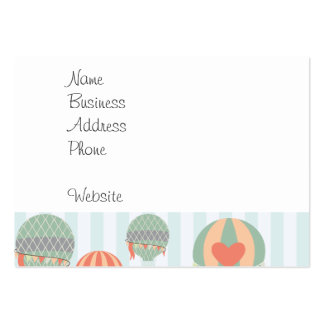 Pastel Hot Air Balloons Rising on Blue Stripes Large Business Cards (Pack Of 100)