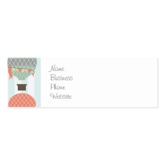 Pastel Hot Air Balloons Rising on Blue Stripes Double-Sided Mini Business Cards (Pack Of 20)
