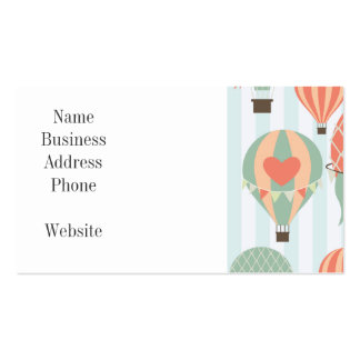 Pastel Hot Air Balloons Rising on Blue Stripes Pack Of Standard Business Cards
