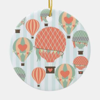 Pastel Hot Air Balloons Rising on Blue Stripes Round Ceramic Decoration