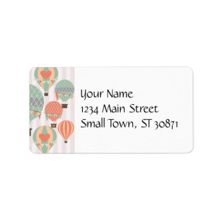 Pastel Hot Air Balloons Rising Pink Striped Sky Address Label