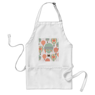 Pastel Hot Air Balloons Rising Pink Striped Sky Adult Apron