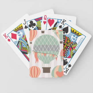 Pastel Hot Air Balloons Rising Pink Striped Sky Bicycle Playing Cards