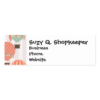 Pastel Hot Air Balloons Rising Pink Striped Sky Business Cards