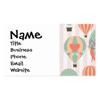 Pastel Hot Air Balloons Rising Pink Striped Sky Business Card