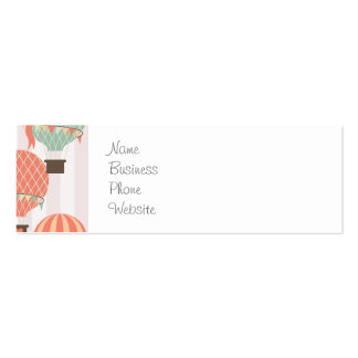 Pastel Hot Air Balloons Rising Pink Striped Sky Pack Of Skinny Business Cards