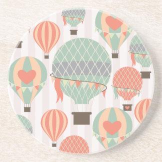 Pastel Hot Air Balloons Rising Pink Striped Sky Beverage Coaster
