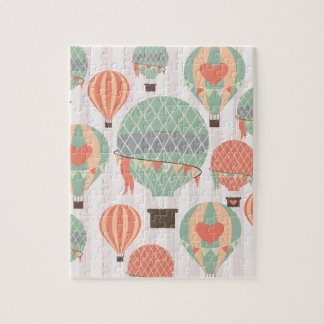 Pastel Hot Air Balloons Rising Pink Striped Sky Jigsaw Puzzle