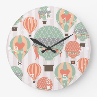 Pastel Hot Air Balloons Rising Pink Striped Sky Large Clock