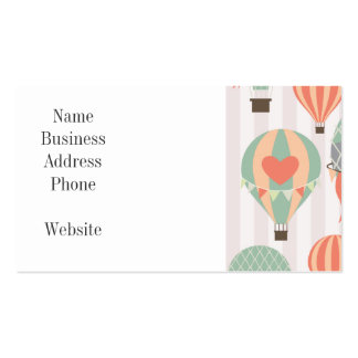 Pastel Hot Air Balloons Rising Pink Striped Sky Pack Of Standard Business Cards