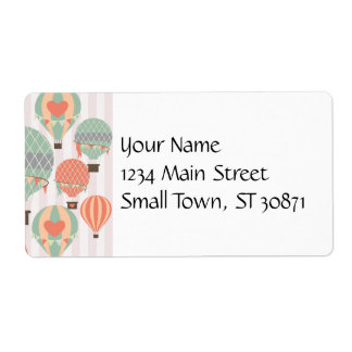 Pastel Hot Air Balloons Rising Pink Striped Sky Shipping Label
