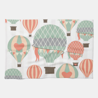 Pastel Hot Air Balloons Rising Pink Striped Sky Tea Towel