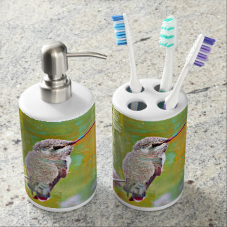 Pastel Hummingbird Bathroom Set