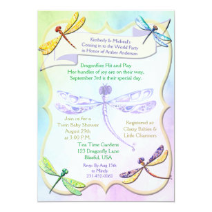 Pastel Jewel Tone Dragonfly Baby Shower Invite
