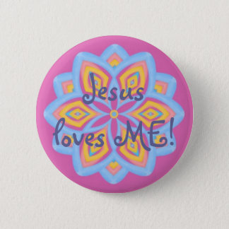 Pastel kaleidoscope 6 cm round badge