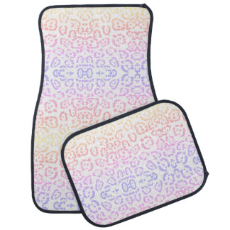 Pastel Kawaii Leopard Rainbow Animal Print Car Mat