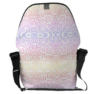 Pastel Kawaii Leopard Rainbow Animal Print Messenger Bag