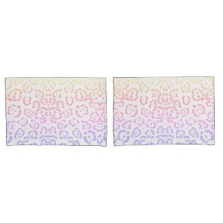 Pastel Kawaii Leopard Rainbow Animal Print Pillowcase