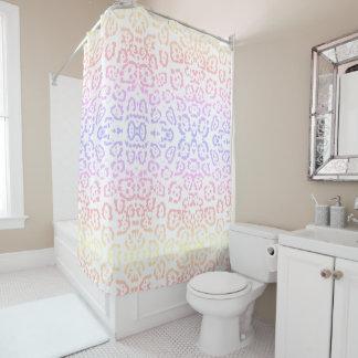 Pastel Kawaii Leopard Rainbow Animal Print Shower Curtain