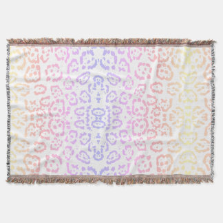 Pastel Kawaii Leopard Rainbow Animal Print Throw Blanket