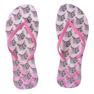 Pastel Kitty Cat Flip Flops