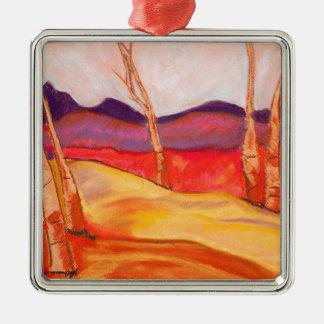 Pastel Landscape Silver-Colored Square Decoration