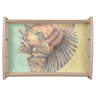 Pastel Large Conch Shell Serving Tray
