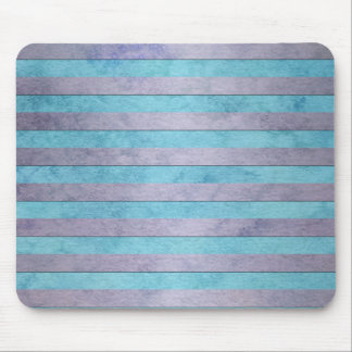 Pastel Lavender and Teal Blue Stripes Pattern Mouse Pad