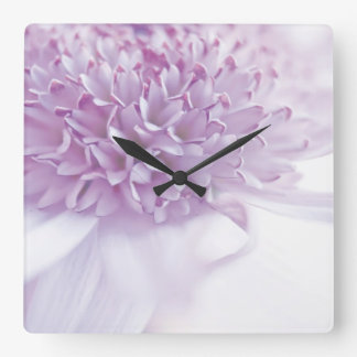 Pastel Lavender Flower Square Wall Clock