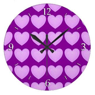Pastel lavender hearts on a deep purple background wallclocks