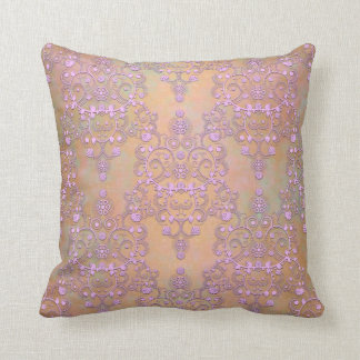 Pastel Lavender over Peachy Gold Lace Damask Throw Pillow