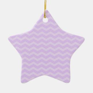 Pastel Lavender Purple Chevron Stripes Christmas Tree Ornament