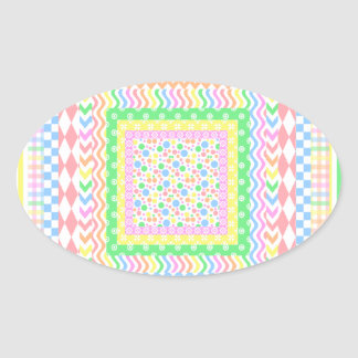 Pastel Layers Oval Sticker