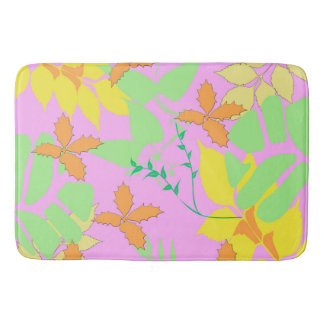 Pastel Leaves Bath Mat