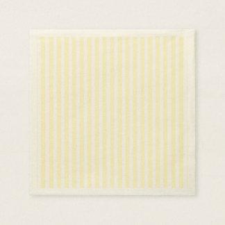 Pastel Lemon Yellow and White Stripes Pale Yellow Paper Serviettes