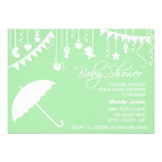 Pastel light green umbrella modern baby shower invitation