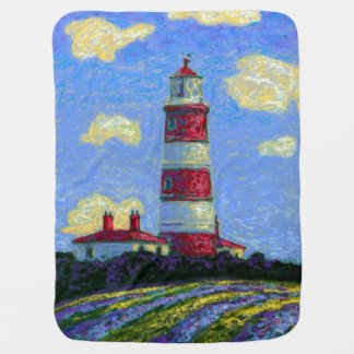 Pastel Lighthouse and Lavender Fields Baby Blanket