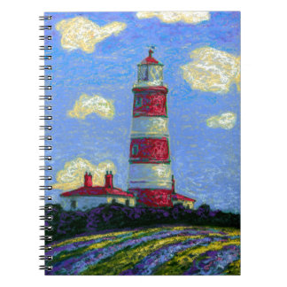Pastel Lighthouse and Lavender Fields Notebook
