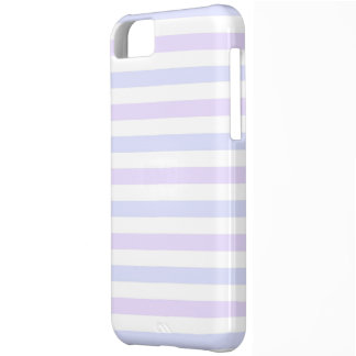 Pastel Lilac, Blue and White Stripes iPhone 5C Case