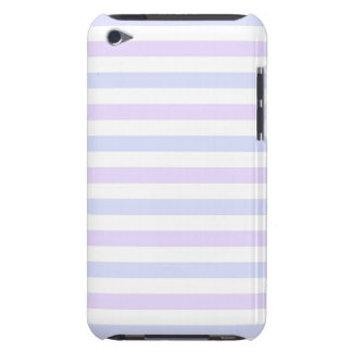 Pastel Lilac, Blue and White Stripes iPod Case-Mate Case
