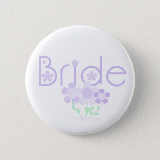 Pastel Lilac Flowers Bride 6 Cm Round Badge