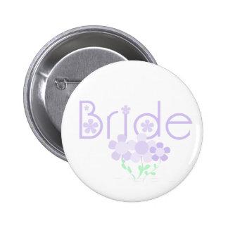 Pastel Lilac Flowers Bride Pinback Buttons