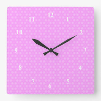 Pastel Lilac Purple White Star Repeating Pattern Square Wall Clock
