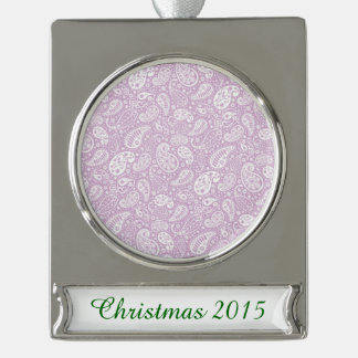 Pastel Lilac Spring Paisely Silver Plated Banner Ornament