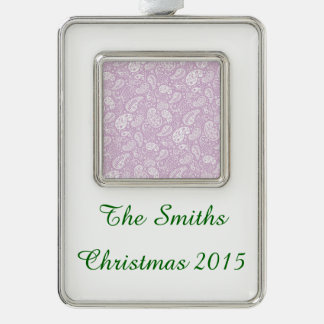 Pastel Lilac Spring Paisely Silver Plated Framed Ornament